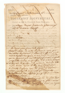 Letter to Charles Humbert Marie Vincent signed by Toussaint Louverture