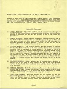 Memorandum, South Carolina Bar, 1984