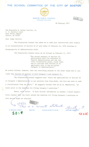 Letter from Boston School Committee President Kathleen Sullivan to Judge W. Arthur Garrity Regarding Order of February 24, 1976 Relating to Desegregation of Administrative Staff