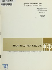 General Management Plan, Development Concept Plan: Martin Luther King Jr. National Historic Site