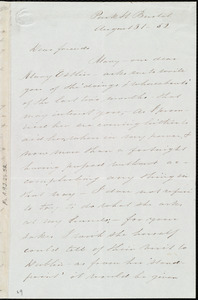 Letter from Sarah Pugh, Park St., Bristol, [England], to Maria Weston Chapman and Emma Forbes Weston, August 31, [18]52