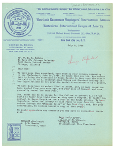 Letter from Hotel & Restaurant Employees and Bartenders International Union to W. E. B. Du Bois