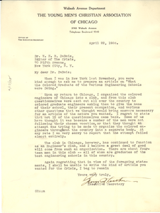 Letter from George R. Arthur to W. E. B. Du Bois