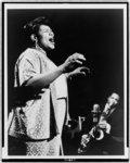 [Big Mama Thornton, three-quarter length portrait, facing right, singing]