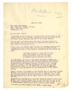 Letter from William Pickens to Mary Ida Winder