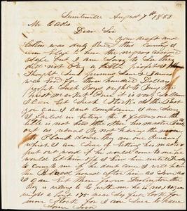A. J. McElveen, Sumterville, S.C., autograph letter signed to Ziba B. Oakes, 7 August 1853