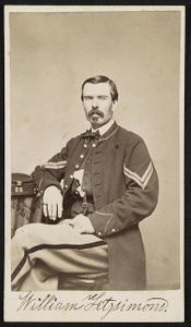 [Private William Fitzsimmons of Co. B, 35th Massachusetts Infantry Regiment and 2nd Veteran Reserve Corps Battalion in uniform]