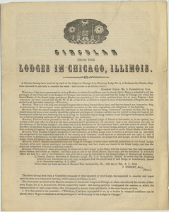 Circular letter issued by the lodges of Chicago, 1846