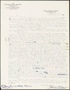 Baldwin, James Mark, 1861-1934 typed letter signed to Hugo Münsterberg, Baltimore, 13 March 1906