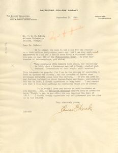 Letter from Thomas E. Drake to W. E. B. Du Bois