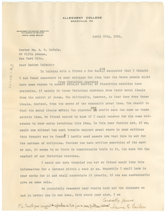 Letter from Irwin R. Beiler to W. E. B. Du Bois