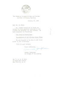 Letter from American Academy of Arts and Letters to W. E. B. Du Bois
