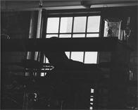 Student in a dark lab