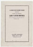 Land O' Cotton Minstrels playbill