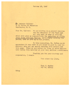 Letter from Hugh H. Smythe to United States Office of Education