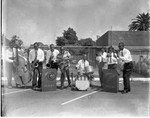 Musicians in the parking lot, Los Angeles, ca. 1957