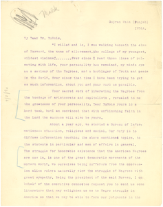 Letter from Abdur Raoof Malik to W. E. B. Du Bois