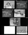 Set of negatives by Clinton Wright including families on Easter, childcare, Matt Kelly basketball champions, party at Jefferson daycare, Mrs. Sellers, and Barnett at Matt Kelly, 1966