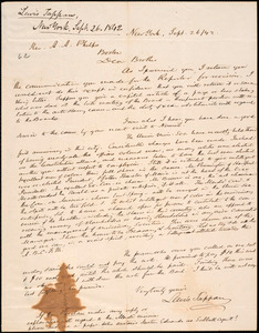 Letter from Lewis Tappan, New York, to Amos Augustus Phelps, 1842 September 26