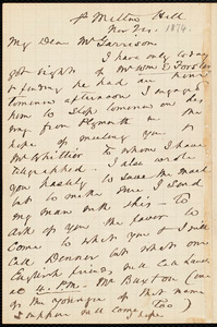 Letter from John Murray Forbes, Milton Hill, to William Lloyd Garrison, Nov. 24, [1874]