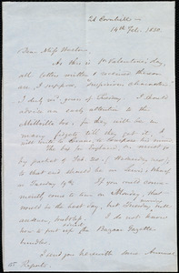 Letter from Samuel May, 21 Cornhill, [Boston, Mass.], to Miss Weston, 14th Feb. 1850