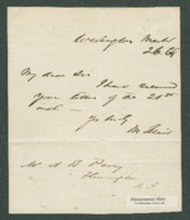 Acknowledgement of receipt of letter to A.B. Perry from Montgomery Blair