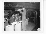 Trumpet player during radio broadcast