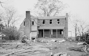 """Chantilly"" Home of Jackson Davis under construction. The house has had to be rebuilt and slightly enlarged."