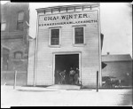 Exterior view of the Charles Winter blacksmith shop, the first in Alhambra, retouched, ca.1895