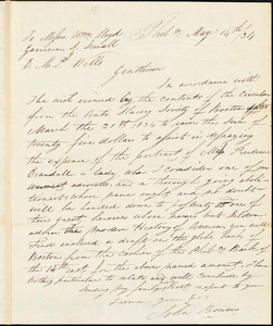 Letter from John Bowers, Phila[delphia, Pennsylvania], to William Lloyd Garrison, Samuel E. Sewall, and Eleazer Mather Porter, [18]34 May 14th