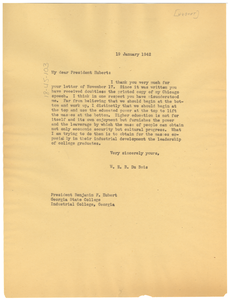 Letter from W. E. B. Du Bois to Benjamin F. Hubert