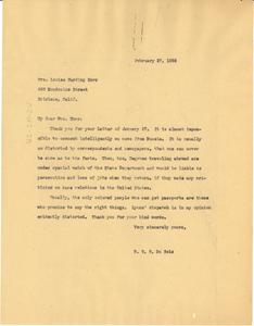 Letter from W. E. B. Du Bois to Louise Harding Horr