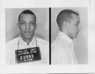 Mississippi State Sovereignty Commission photograph of David Dennis following his arrest for his participation in the Freedom Rides, Jackson, Mississippi, 1961 May 24