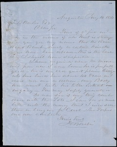F. C. Barber, Augusta, Ga., autograph letter signed to Ziba B. Oakes, 14 January 1854