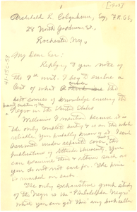 Thumbnail for Letter from W. E. B. Du Bois to Archibald R. Colquhoun