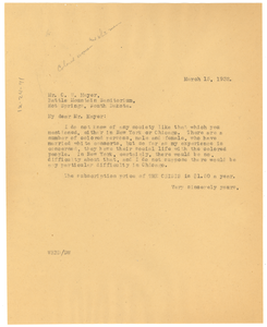 Letter from W. E. B. Du Bois to C. W. Mayer