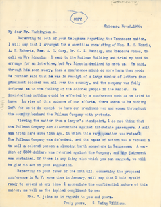 Letter from Booker T. Washington to S. Liang Williams