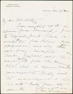 Baldwin, James Mark, 1861-1934 autograph letter signed to Hugo Münsterberg, Princeton, N.J., 17 January 1902