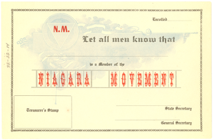 Niagara Movement Membership Certificate