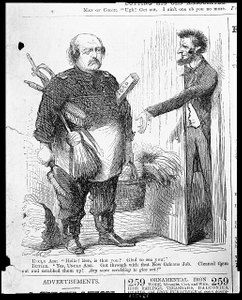 """Uncle Abe--""""Hello! Ben, is that you? Glad to see you!"""" Butler--""""Yes, Uncle Abe. Got through with that New Orleans job. Cleaned them out and scrubbed them up! Any more scrubbing to give out?"""" /"""