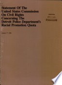 Statement of the United States Commission on Civil Rights concerning the Detroit Police Department's racial promotion quota
