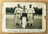 Mohawk Giants players Charlie Williams, Babe Hobson, and Art Milton with Arnold Fisher.