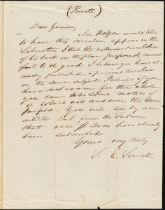 Letter from Samuel Edmund Sewall, [New York, New York], to William Lloyd Garrison, [1859 March 9]