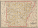 Railroad and county map of Arkansas