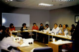 Photograph of Debbie Conway chairing the Small Business Development Advisory Council, 1995