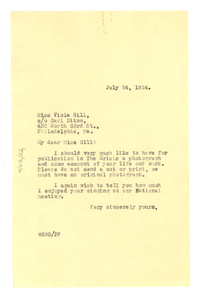 Letter from W. E. B. Du Bois to Viola Hill