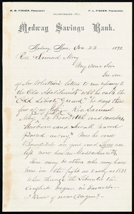 Letter from Milton Metcalf Fisher, Medway, Mass., to Samuel May, Dec. 23, 1892