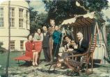 Katherine Dunham, Marie-Christine Dunham Pratt, John Pratt with friends and family