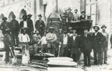 Construction workers posing at City Hall construction site