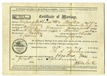 Certificate of marriage between Benjamin De Shields and Anna M.H. Williams
